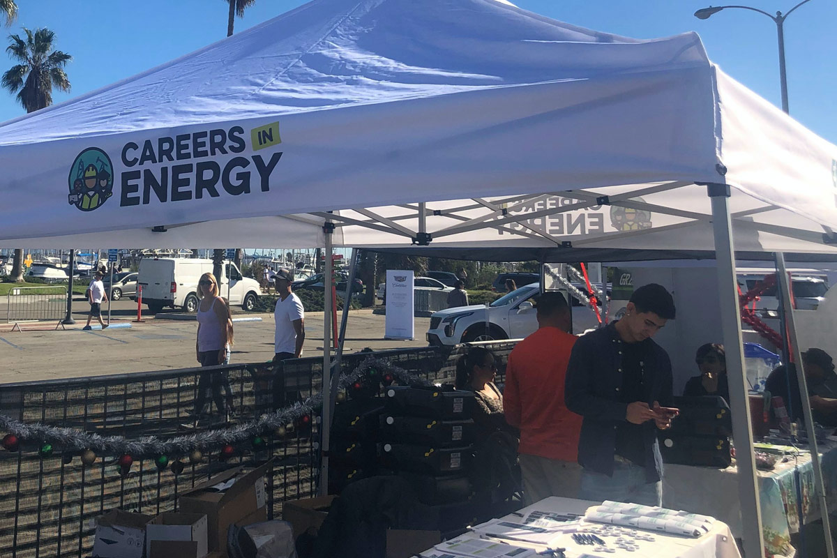 Careers in Energy booth for the Santa to the Sea Half Marathon.